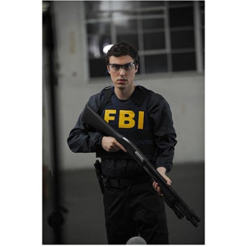 Bones John Francis Daley as Dr. Sweets Wearing FBI Gear Holding Rifle Down Closeup 8 x 10 Photo