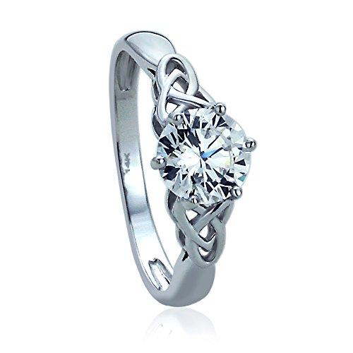 14k Gold Celtic Rings (14K White Gold Engagement Ring CZ Round Celtic Claddagh Ring -Size: 6)