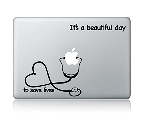 Stethoscope Heart And It's A Beautiful Day To Save Lives Grey's Anatomy Laptop Apple Macbook Vinyl Decal Sticker Apple Mac Air Pro Laptop Sticker -