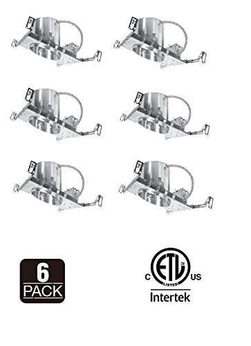 6 Pack 6'' Slope New Construction LED Can Air Tight IC Housing Recessed Lighting by Four Bros Lighting