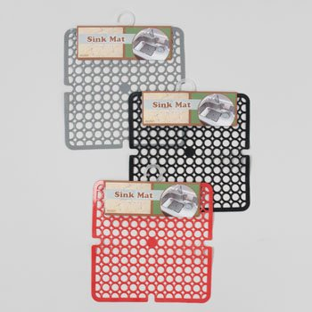 SINK MAT 11X11 3ASST COLORS BLACK/RED/GREY NONSLIP PVC, Case Pack of 48 by DollarItemDirect