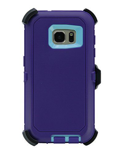 WallSkiN Turtle Series Cases for Samsung Galaxy S7 (Only) Tough Protection with Kickstand & Holster - Ambition (Purple/Beau Blue)