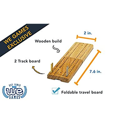WE Games Foldable 2 Track Cribbage with Metal Pegs - Travel Size: Toys & Games