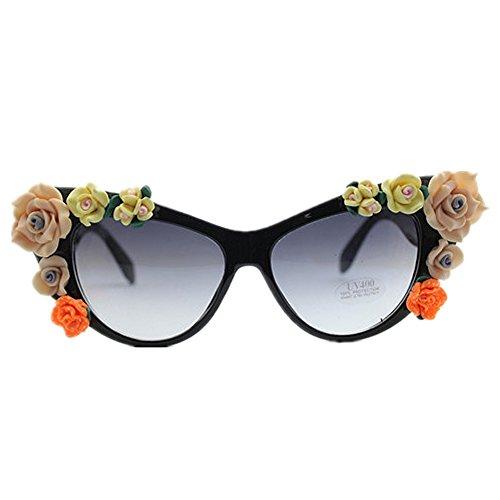 Gafas coloridas de gato de hechas mano polímero negro de Gafas mujer color playa de Gafas de la de sol sol disponibl flores sol para la verano Gafas para playa del el de la arcilla de las del a sol de xUwqXpH