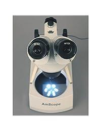 AmScope   Microscopio estéreo inalámbrico con dos luces LED, 20 x 40 x
