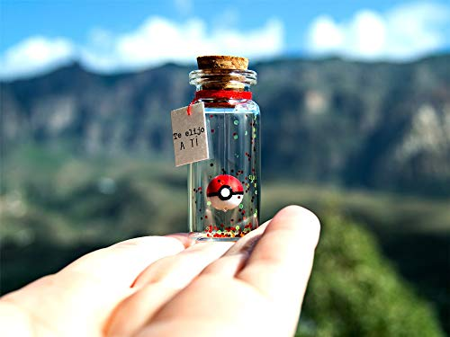 POKEBALL Te elijo a ti Mensaje en una botella Miniaturas Regalo personalizado Divertida postal motivacion