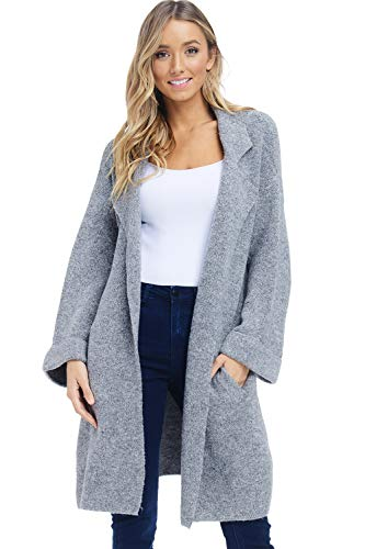 Alexander + David Womens Oversized Sweater Jacket - Knit Lapel Open Coat (Charcoal, Small/Medium) ()