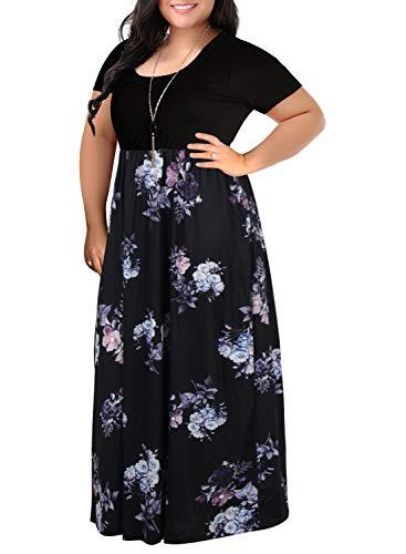 (Nemidor Women's Chevron Print Summer Short Sleeve Plus Size Casual Maxi Dress (22W, Purple Print))