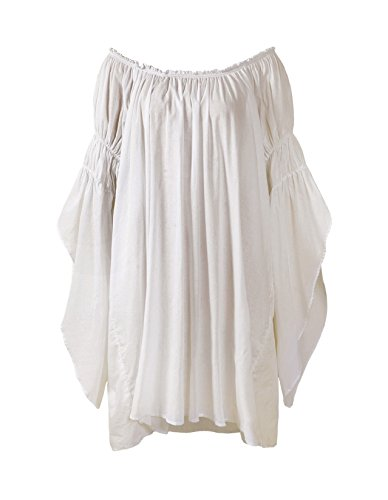 (ReminisceBoutique Renaissance Medieval Peasant Dress up Pirate Faire Celtic Blouse (Regular, Cream) )