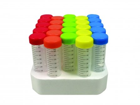 SpectraTube 15ml PP (17x118mm), flat rainbow screw cap, 50/foam rack , 500/PK