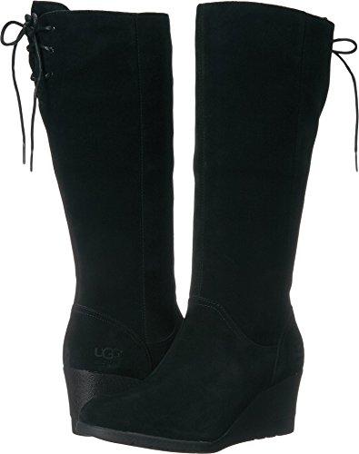 UGG Women's Dawna Winter Boot, Black, 9 M US Black Suede Wedge Boots