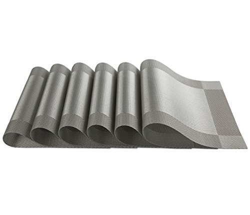 Large Product Image of SiCoHome Placemats,Set of 6,Grey