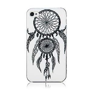 TY- Blanco Doble Net y patrón de la pluma Marco Transparente de nuevo caso para el iPhone 4/4S