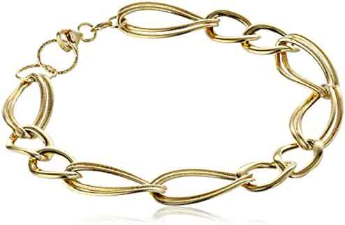 14k Yellow Gold Italian Polished and Textured Link Bracelet, 7.5