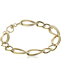 14k Yellow Gold Italian Polished and Textured Link Bracelet, 7.5""