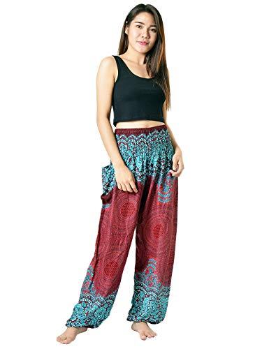 - Orient Trail Hippie Elephant Design Palazzo Harem Buddha Pants Scrunched Bottom Large Mandala Maroon