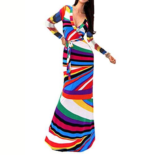 2017 Mujer Verano La Sección De Largo Atractivo Barra De Color Impresión V Profunda Era Delgado Cinta Vacaciones Playa Vestido Color