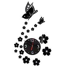 Creative Mirror Wall Clock Fashion Horloge Murale DIY Wall Sticker Beautiful Butterflies Wall Watch,Black