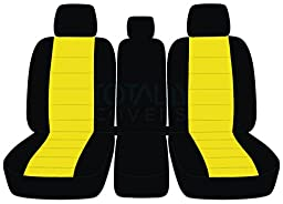 2011-2014 Ford F-150 Two-Tone Truck Seat Covers (Front 40/20/40 Split Bench) with 3 Headrests & Opening Center Console/Solid Armrest: Black & Yellow (21 Colors) 2012 2013 F-Series F150
