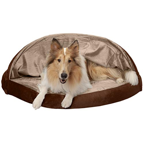 Furhaven Pet Dog Bed | Orthopedic Round Cuddle Nest Micro Velvet Snuggery Blanket Burrow Pet Bed w/ Removable Cover for Dogs & Cats, Espresso, 44-Inch