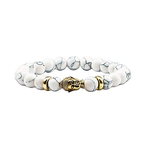 (Citled Lava Rock Stone Bracelet with Gold Buddha for Men & Women 8mm Beaded Elastic Bracelets)