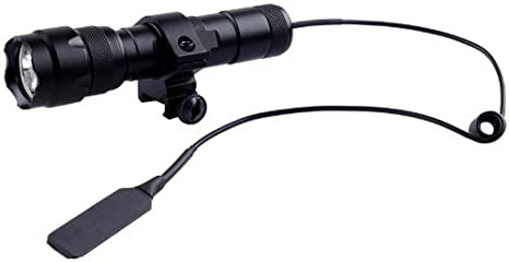 1000 Lumens XM/_L T6 WindFire 501B LED Lampe Tactique avec Anneau de D/écalage de Rail Picatinny Montage Lat/éral et Interrupteur de Pression Lampe de Poche Torche Batterie non Incluse