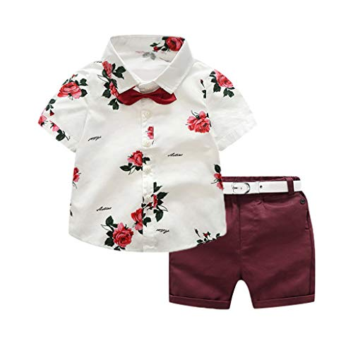 Toddler Little Boy Kids Gentleman Suit Summer Floral Shirt with Shorts Outfit Set 2Pcs Fashion Summer Clothes (Red, 7-8 Years) ()
