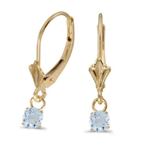 Yellow Gold Genuine Aquamarine Earrings - 7