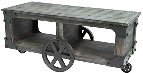 Vintiquewise QI003431.L Rustic Industrial Wagon Style Coffee End Table Storage Shelf Wheels (Large), Brown
