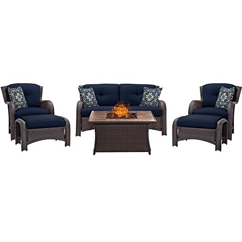 Hanover STRATH6PCFP-NVY-TN 6 Piece Strathmere Lounge Set in Navy Blue with Fire Pit Table - 6 Piece Seating