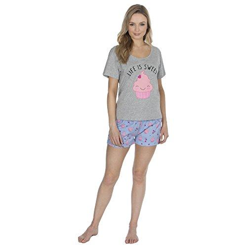 Forever Dreaming Ladies Summer Jersey Print Short Pajamas Set (Medium, Cupcake)