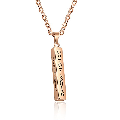 Love Jewelry Personalized Couple Stainless Steel Necklace Engraved Initial Name Vertical Bar Necklace Birthday Gift (Rose Gold) (Jewelry Gold Made Custom)