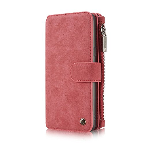 Protective Black Slots Case for Plus Wallet Phone S8 S8 Purse Billfold Money Samsung for Card Cover Credit 2 Retro Pocket with elecfan Magnetic Galaxy Stand Zipper inch 01 Pink Pouch Phone Plus 6 xIanwA