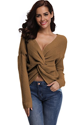 Luxe V-neck Sweater - SHEKINI Pullover Jumper Ribbed Knit Crossover Back Dolman Sleeve V Neck Dropped Shoulders Oversized Sweaters for Women (Medium, Camel - 8003)