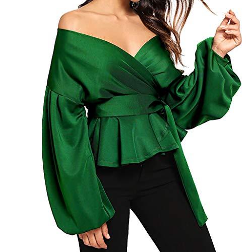 neck Verde Senza V Fiocco Lunga Benda Donna Tops Cintura Lanterna Manica Spalline Bhydry Moda Canotta Eleganti 8zPqzYZ
