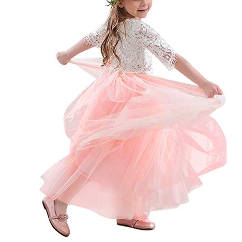 NNJXD Girls 2Pcs Lace 3/4 Sleeve Tops+ Tulle Dress Party Princess Flower Girl Dresses 3-4 Years 2Pcs Lace 3/4 Sleeve Tops+ Pink Tulle Dress
