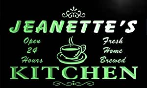 pc189-g Jeanette's Family Name Kitchen Decor Neon Sign