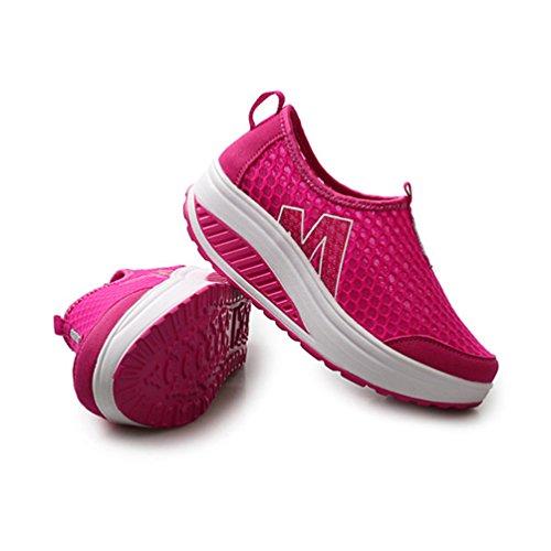 Multisports de JRenok Sport Fitness 40 Filets Sneakers Rouge Marche 35 Outdoor Sandales Respirant Chaussures Compensées Femmes Y1qwSYB