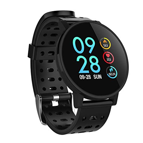 Large Screen Smart Bracelet,T3 1.3 Inch Color Screen Sleep Tracker Bracelet Tape Activity Step Calories Remote Control Watch For Kids Women Men (Black)