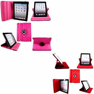 2 Pack Diamante 360 Degree Rotating Stand Voltear Concha Caso Cubrir Para Apple iPad 2 2nd 3 3rd 4 4th Generation / Hot Pink And Red