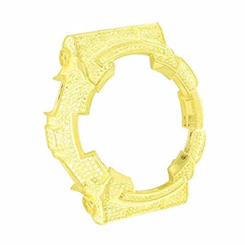 Yellow Lab Diamond Custom G Shock Bezel 14k Yellow Gold Finish Icy Bling Master (Real Gold G Shock Watches For Men)
