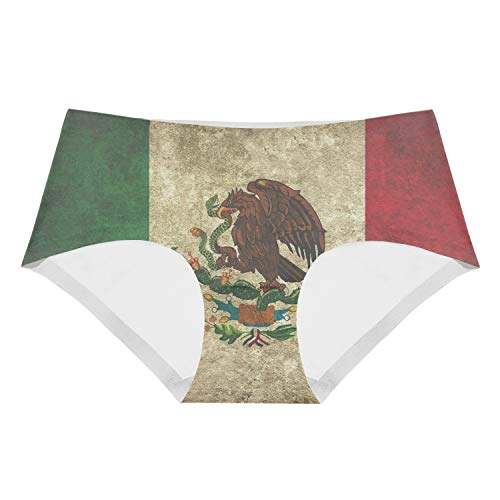 Mexican Flag Clipart Brief Panties Underwea Girl's Low-Waist Stretch ()