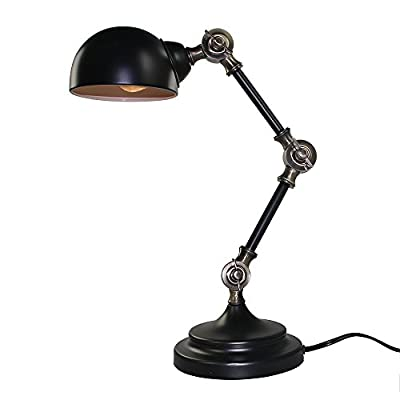 LNC Plug-in Adjustable Table Lamps, 1-light Reading Lamp for Living Room, Bedroom, Library, Office, Study