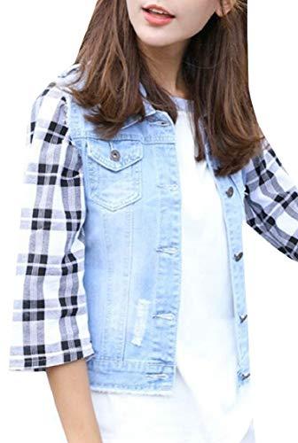 Keaac 女性コットンノースリーブリッピングホールジーンズデニムベストジャケット