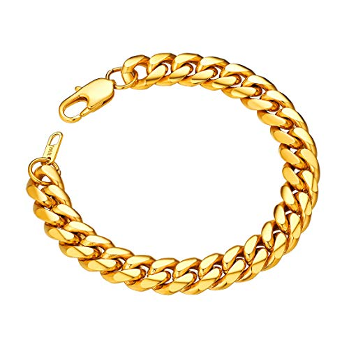 Chain Wristband - Thick Chain Link Bracelet 10mm 19CM Chunky Miami Gold Plated Wristband