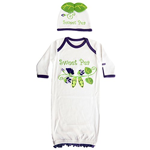 - Sozo Baby Girls Sweet Pea Gown & Hat Set, Purple/White, 0-6 Months