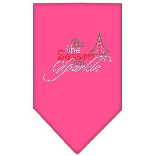 Tis The Season To Sparkle Rhinestone Bandana Bright Pink Small