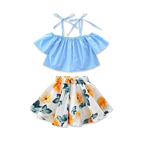 MOLYHUA Baby Girls Outfits Blue, 2Pcs Off-Shoulder Tops + Floral Print Skirt Set (110(4T), Blue)]()