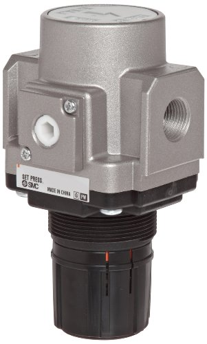 Smc Air Pressure Regulator - SMC AR25-02H Regulator, Relieving Type, 7.25-123 psi Set Pressure Range, 53 scfm, No Gauge, With Panel Nut, 1/4