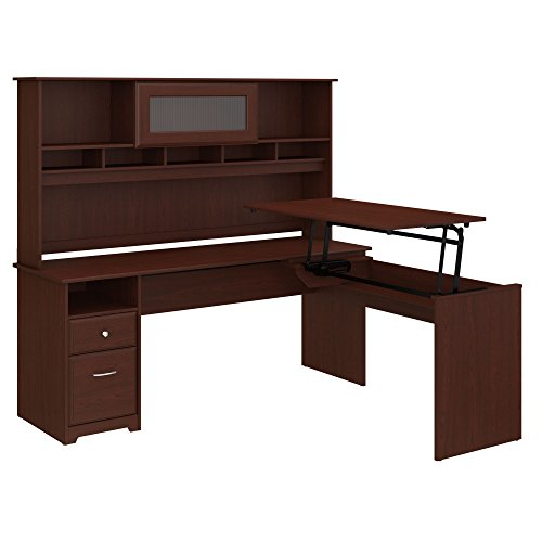 Bush Furniture Cabot 72W 3 Position L Shaped Sit to Stand Desk with Hutch in Harvest Cherry